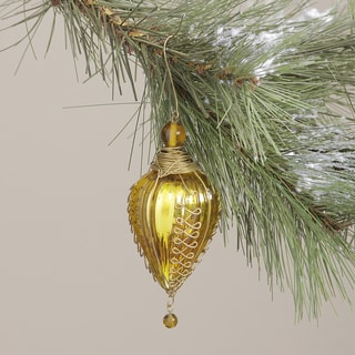 Glass and Brass Gold Kugel Trim Christmas Ornament (India)
