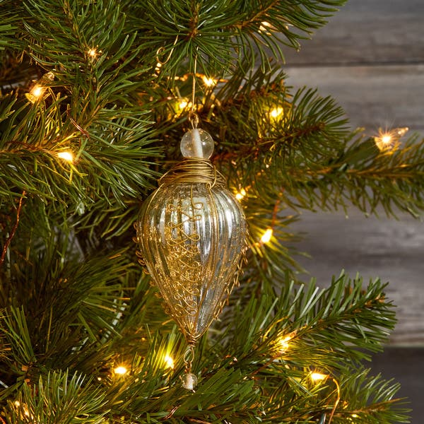 Shop Glass And Brass Trim Silver Kugel Christmas Ornament India