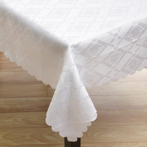White Argyle 57x119-inch Linen Tablecloth