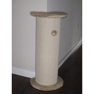 Go Pet Club Natural/White Wood/Faux-fur/Sisal Cat Tree Corner Scratching Post