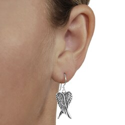 Journee Collection  Sterling Silver Oxidized Angel Wings Dangle Earrings