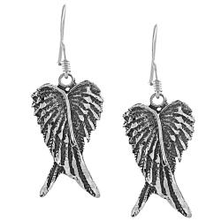 Journee Collection Sterling Silver Oxidized Angel Wings Dangle Earrings - Thumbnail 0