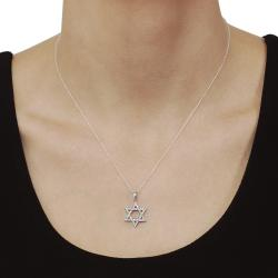 Journee Sterling Silver CZ Micropave-set Star of David Necklace