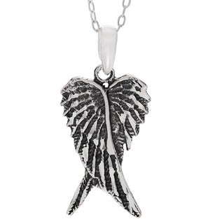 Journee Collection Sterling Silver Oxidized Angel Wings Necklace