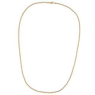 14K Gold over Sterling Silver Diamond-cut 24-inch Rope Chain (2.5 mm)