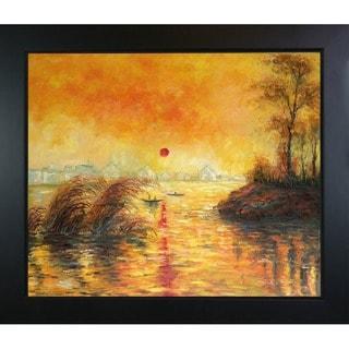 Monet 'Le Coucher Du Soleil La Seine' Framed Canvas Art