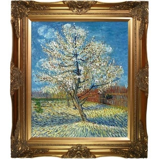 Van Gogh Paintings Pink Peach Tree w/ Victorian Gold Frame Hand Painted Canvas Art