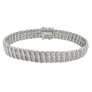 Finesque Sterling Silver 2ct TDW Diamond 'S' Link Bracelet (2 options available)