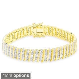 Finesque Sterling Silver 2ct Tdw Diamond S Link Bracelet