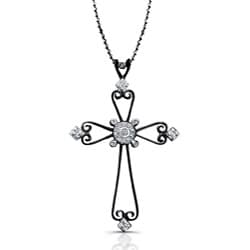 Victoria Kay Black Sterling Silver 1/10ct TDW Diamond Cross Necklace (J, I2-I3)