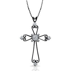 Victoria Kay Black Sterling Silver 1/10ct TDW Diamond Cross Necklace
