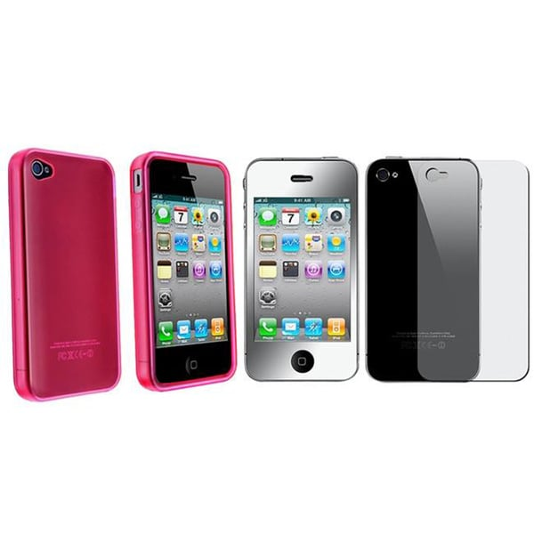 TPU Rubber Case/ 2-piece Mirror Screen Protector for Apple iPhone 4