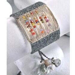 Sterling Silver Sliding Stones Beaded Bracelet (Colombia) - Thumbnail 1