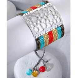 Sterling Silver Star Flower Beaded Bracelet (Colombia) - Thumbnail 1