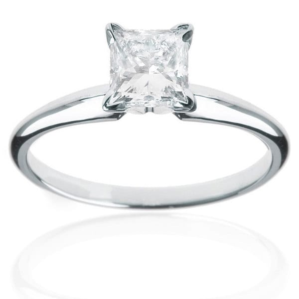 14k White Gold 1/4ct TDW Princess Cut Diamond Solitaire Ring. Opens flyout.
