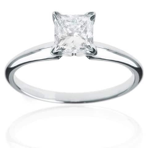 14k White Gold 1/4ct TDW Princess Cut Diamond Solitaire Ring