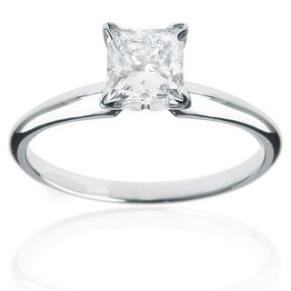 14k White Gold 1/4ct TDW Princess Cut Diamond Solitaire Ring