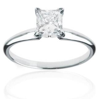 14k White Gold 1/4ct TDW Princess Cut Diamond Solitaire Ring|https://ak1.ostkcdn.com/images/products/5540663/P13316485.jpg?impolicy=medium