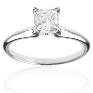 Montebello 14k White Gold 1/2ct TDW Princess-cut Diamond Solitaire Engagement Ring