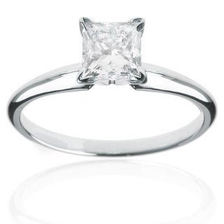 Montebello 14k White Gold 1ct TDW Certified Diamond Princess Solitaire Engagement Ring (H-I, I1-I2)