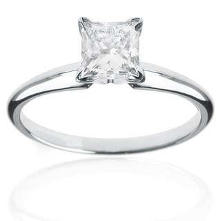 Montebello 14k White Gold 1ct TDW Certified Diamond Princess Solitaire Engagement Ring