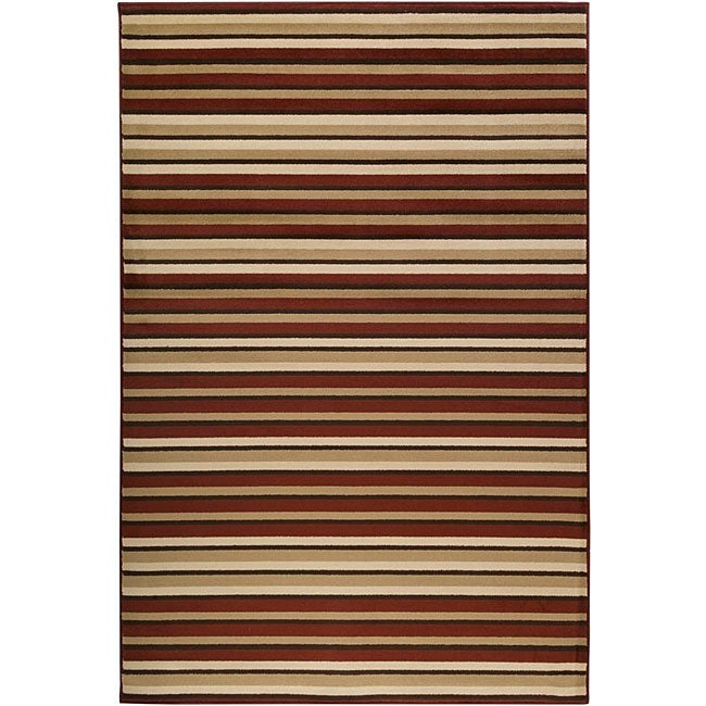 Meticulously Woven Contemporary Free-form Tan/Red Stripe Abstract Rug (7'9 x 11'2)
