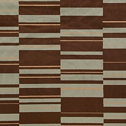 Meticulously Woven Contemporary Free-form Brown/Teal Geometric Squares Rug (7'9 x 11'2) - Thumbnail 2