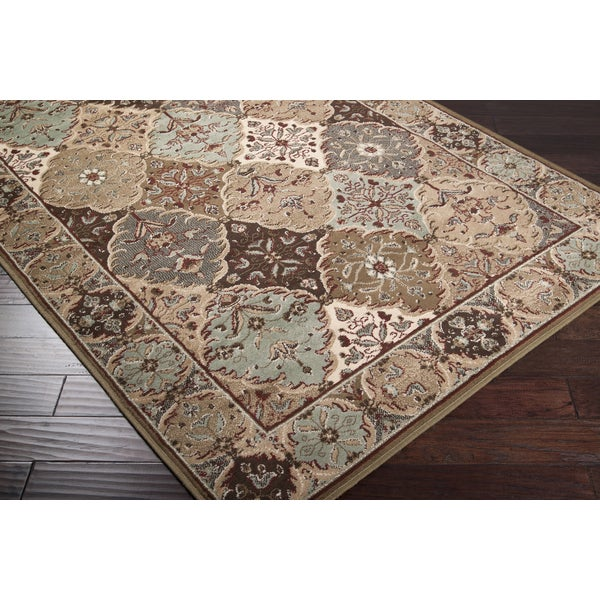 Loomed Free-form Sage Traditional Rug (7'9 x 11'12)
