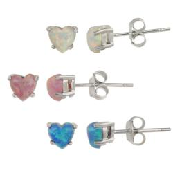 Glitzy Rocks Sterling Silver Heart Opal 3-piece Stud Earring Set