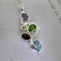 Handmade Sterling Silver Colorful Multi Gemstones Necklace (Thailand) - Thumbnail 1