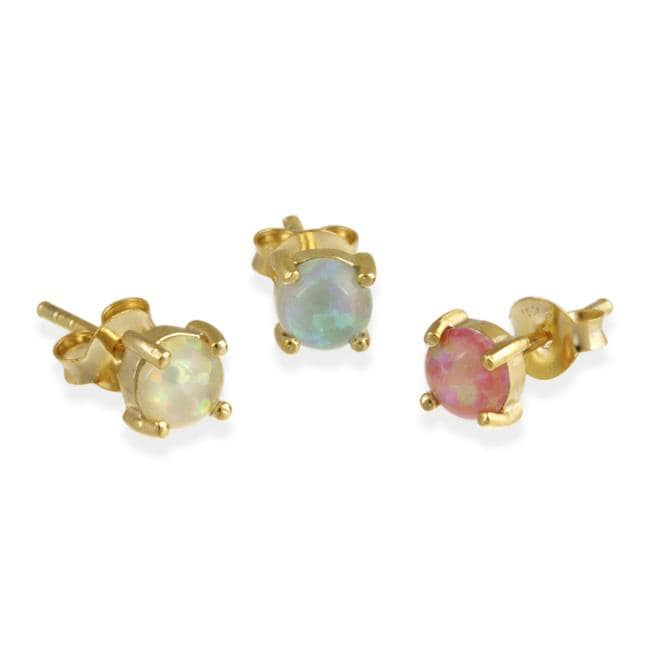 Glitzy Rocks 18k Gold over Sterling Silver Multi-colored Opal Stud Earring Set - Thumbnail 0