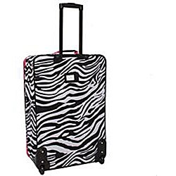 Rockland Deluxe Pink Zebra 4-piece Expandable Luggage Set - Thumbnail 1
