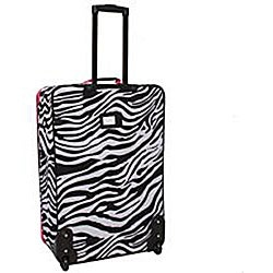 Rockland Deluxe Pink Zebra 4-piece Expandable Luggage Set