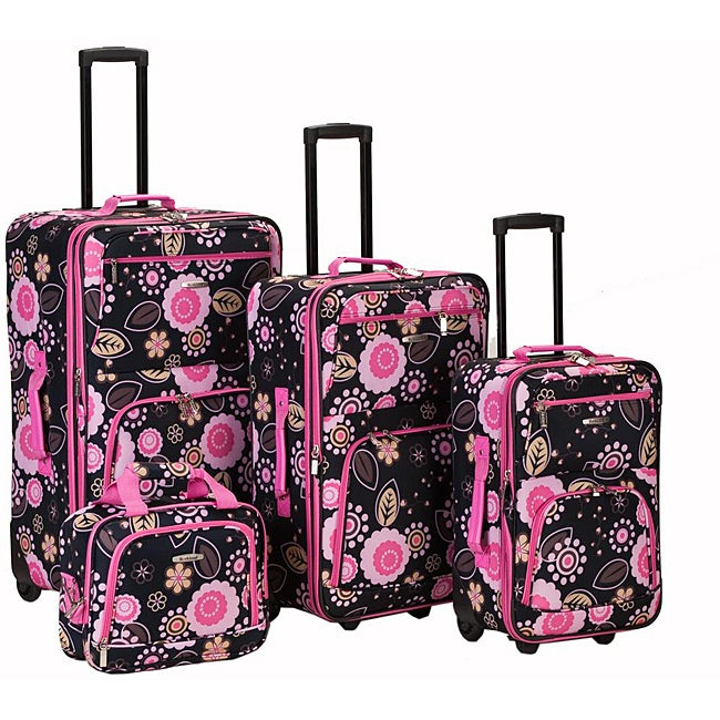 Rockland Designer Black/ Pink Flower 4-piece Luggage Set - Thumbnail 0