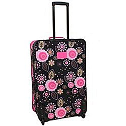 Rockland Designer Black/ Pink Flower 4-piece Luggage Set - Thumbnail 1