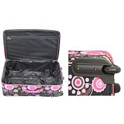 Rockland Designer Black/ Pink Flower 4-piece Luggage Set - Thumbnail 2
