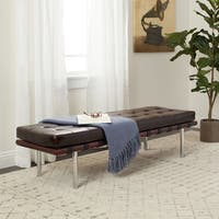 Oliver & James Andalucia Large Dark Brown Leather Bench