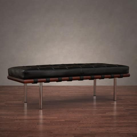 Strick & Bolton Andalucia Black Leather Bench