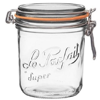 Le Parfait French Wide Mouth Glass 26.25 oz. 750 Grams Canning Jar with 100mm Gasket and Lid (Pack of 6)