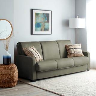 Handy Living Trace Convert-a-Couch Sage Grey Microfiber Futon Sofa Sleeper|https://ak1.ostkcdn.com/images/products/5542801/P13318481.jpg?impolicy=medium