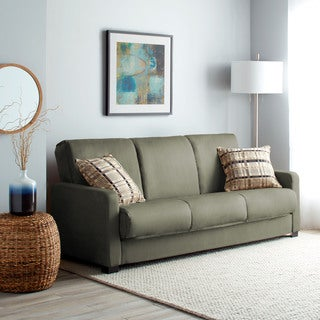 Handy Living Trace Convert-a-Couch Sage Grey Microfiber Futon Sofa Sleeper