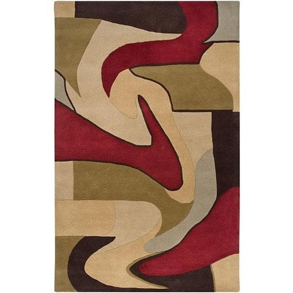 Hand-tufted Gathering Beige Wool Rug (6' x 9')
