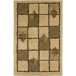Hand-knotted Beige Contemporary Neoteric Wool Floral Rug (5' x 8')