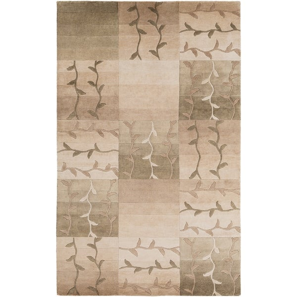 Shop Persian Oriental New Zealand Wool Area Rug: Shop Hand-knotted Green Floral Neoteric New Zealand Wool