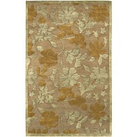 Hand-knotted Grey Floral Neoteric Semi-Worsted New Zealand Wool Area Rug - 2' X 3'