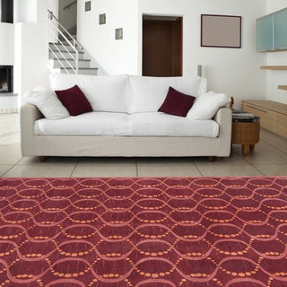 Hand-knotted Red Rust Contemporary Neoteric Wool Geometric Rug (8' x 11')