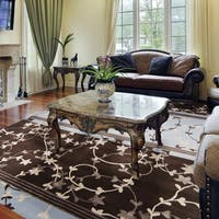Hand-knotted Neoteric Brown Floral Wool Area Rug (8' x 11') - 8' x 11'