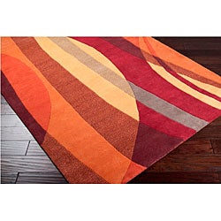 Hand-tufted Contemporary Multi Colored Stripe Motley New Zealand Wool Abstract Rug (8' x 11')