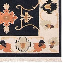 Hand-woven Black Southwestern Migrant New Zealand Wool Rug (7' x 9')