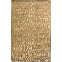 Hand-knotted Resonate Beige Abstract Design Wool Area Rug - 2' x 3'